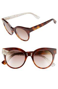 Jimmy Choo 'Mirta' 49mm Glitter Detail Cat Eye Sunglasses Jimmy Choo Sunglasses, Cat Eye Sunglasses, Wraps, Nordstrom, Glitter, Chic, Detail, Style, Image