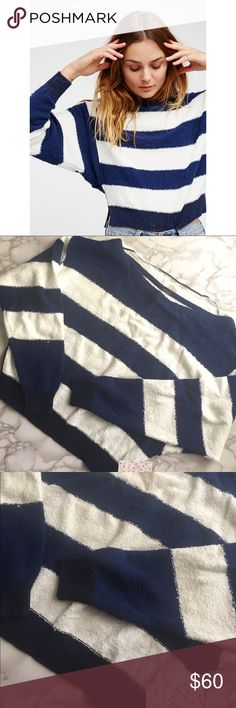 """FREE PEOPLE fuzzy striped pullover Bold fuzzy FP sweater with navy and white stripe pattern. Ribbed cuffs and hemline. Wide boatneck style neckline that can fall off the shoulder. Small slits on sides at hemline. Appx. 22"""" length, 20.5"""" sleeves, and 38"""" bust. 1% spandex, 22% acrylic, 7% nylon, 70% cotton.   Size: M Retail: $98 Free People Sweaters Crew & Scoop Necks"""