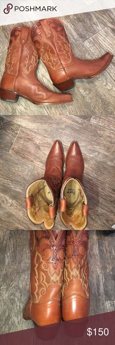 """AMAZING!! Tony Lama BOOTS Top of the line premium leather, beautifully crafted cowboy boots---EUC. Just enough heel-approx 1 1/2""""-mid calf height approx 12"""" from floor, with pull up straps on each side for easy slip on. Release your inner cowgirl! Rockin it your style Tony Lama Shoes"""