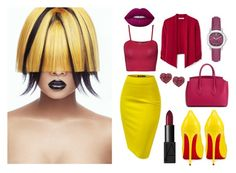 """""""yellow skirt"""" by biljanakljajic ❤ liked on Polyvore featuring WearAll, NARS Cosmetics, Privé, Bally, Betsey Johnson, Burberry and Lime Crime"""