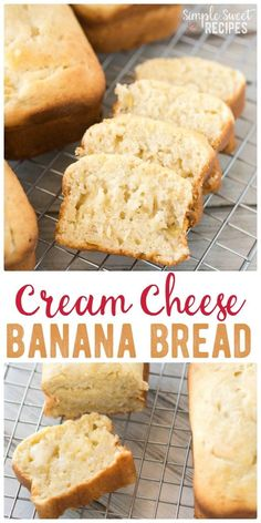 So soft, this cream cheese banana bread is moist like pound cake and so flavorful. Bake in mini loaves for easy neighbor gifts for the holidays. via @simplesweetrecipes