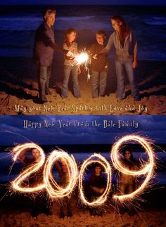 The Bale family Christmas card 2009 made with Sparklers with time lapse photography - Great card ideas here!