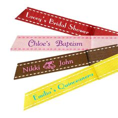 Find Saddle Stitch Personalized Favor Ribbons at Wholesale Favors, along with other wedding favors and personalized gifts. Unique Party Favors, Inexpensive Wedding Favors, Class Reunion Favors, Anniversary Favors, Personalized Ribbon, Bridal Shower Favors, Customized Gifts, Unique Gifts, Stitch