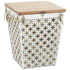 Cotton Millie Hamper White Laundry Baskets Storage Small