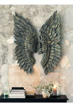 Greywash Gilt Metal Angel Wings - Indoor Living