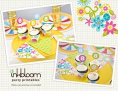 More free party printables - flag banner and cupcake wrappers & toppers