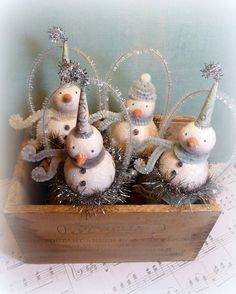 Ornament SNOW CONES Vintage Inspired Snowman Cottage Style Folk Art Christmas Ornament