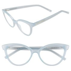 Women's Kate Spade New York 'Danna' 52Mm Cat Eye Reading Glasses ($68) ❤ liked on Polyvore featuring accessories, eyewear, eyeglasses, glasses, milky mint, kate spade glasses, cat eye glasses, retro cat eye glasses, cat-eye glasses and cateye eyeglasses