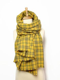 2fb0b8b271665 Yellow Wool Blanket Scarf | Women's Shawl | Large Woolen Scarf | Yellow  Plaid Shoulder Wrap | Scottish Tartan | Gift for Girlfriend, Teacher