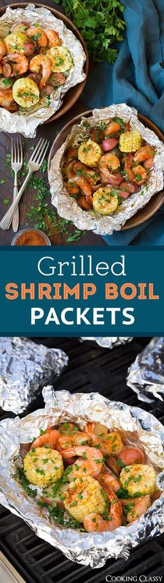 Grilled Shrimp Boil Packets - the easiest summer dinner!! Absolutely loved these! #tinfoildinners #tinfoilsuppers #tinfoilmeals #tinfoildinnerrecipes #foilpacketmeals #foilpacketrecipes #healthyrecipes #mealprep #simplefamilymeals #simplefamilyrecipes #simplerecipes