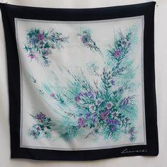 Vintage Retro Floral Blue Scarf by Leonardi