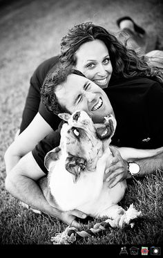 Engagement Portraits with Bulldog... Uhm, that dog cannot handle life right now
