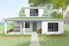 The wrap-around front porch on this quaint two-bedroom house plan awaits the porch swing of your dreams.The living room greets you upon entering, and opens to the kitchen, while the utility closet is located next to the kitchen for convenience.A bedroom on the main level resides across the hall from the full bath, and a side porch offers a second outdoor living space to enjoy.Upstairs, bedroom two includes a vaulted ceiling and a walk-in closet. Guest House Plans, House Plan With Loft, Small House Plans, 2 Bed House, Bedroom House Plans, Architectural Design House Plans, Architecture Design, Side Porch, Porch Swing