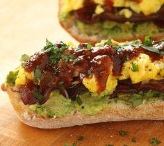 Open-Faced Mexican Scrambled Egg Sandwich