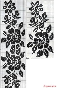 black flowers on white Crochet Curtain Pattern, Crochet Curtains, Afghan Crochet Patterns, Crochet Motif, Filet Crochet Charts, Knitting Charts, Knitting Yarn, Funny Cross Stitch Patterns, Cross Stitch Designs