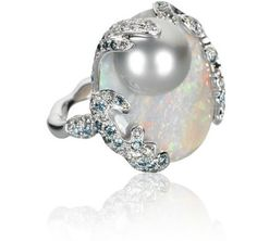 Rifessi Sul Mare Ring - White gold, Diamonds, Opal and Light Grey Tahitian Pearl
