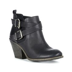 Black leather bootie with a stacked heel and crisscross buckled straps for a rugged, cool look