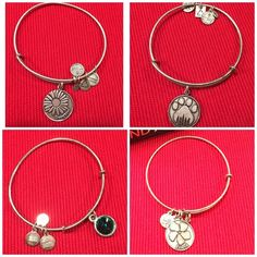 • Alex and Ani 4 charm bracelets • Alex and Ani 4 charm bracelets. All are preloved and have signs of tarnishing. All 100% authentic  Feather charm bracelet - SOLD Daughter charm bracelet  Friend charm bracelet Paw print charm bracelet   May birthstone charm bracelet  Selling 4 for $72 Each charm I'm selling for $18 each       Retail new $28 each.                                     Each bracelet comes in a box   ❌No trades  Non smoking home  Same/next day shipping Alex & Ani Jewelry…
