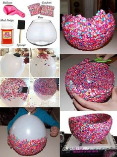 Fun crafts, diy arts and crafts, diy confetti, confetti basket, diy f Diy Arts And Crafts, Crafts For Teens, Crafts To Sell, Fun Crafts, Paper Mache Crafts For Kids, Button Crafts For Kids, Diy Crafts For Bedroom, Mod Podge Crafts, Creative Activities For Kids
