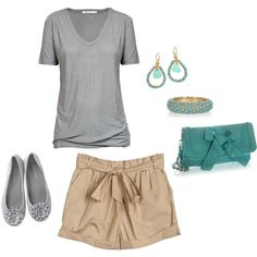 perfect summer outfit. love the gray with the greenish color hand bag and jewelry!