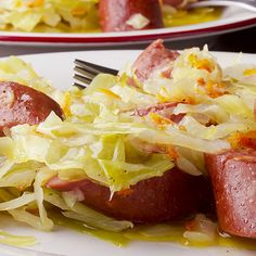 A braised sausage and cabbage recipe that is a family favorite.. Ukranian Sausage and Sauerkraut Recipe from Grandmothers Kitchen.