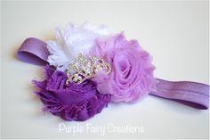 Sofia The First Disney Princess Inspired Headband - Triple Shabby Chic Flower with Tiara Crown (Mulan, Jasmine, Merida, Pocahontas or Sofia) by Purple Fairy Creations