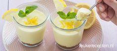 Frisse potjes met een citroen cheesecakevulling, een lekker dessert om van te voren te maken of mee te nemen