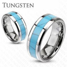 Rio Grande - Inlay Turquoise Center Band and Tungsten Carbide Comfort-Fit Ring