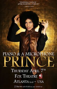"Piano & A Microphone (2016)  A testament to the enduring greatness of Prince — despite completing only nine performances. Nearly 40 years into his career, he was still bravely searching for new ways to pour out his music. ""This is the first time I've done a concert alone, ever"""