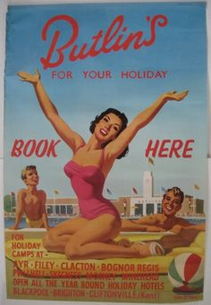 Alan Durman butlins poster for coaches vintage classic Posters Uk, Cool Posters, Poster Ads, Vintage Beach Posters, Butlins Holidays, British Holidays, British Seaside, Travel Ads, Up Girl