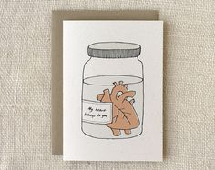 Valentine Card  Heart in a Jar by witandwhistle on Etsy, $4.50