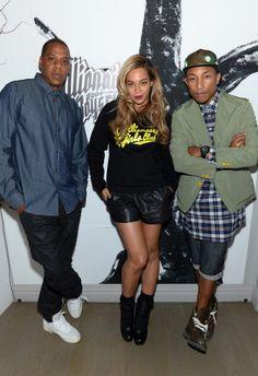 Jay-Z, Beyoncé e Pharrell Williams em Nova York (Estados Unidos)