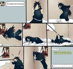 oh, so cute and funny :D he even has a Hashirama poster :D #madara #funny #naruto
