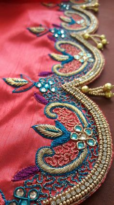Bridal blouses by Sugi ✨✨ Saree Tassels Designs, Saree Kuchu Designs, Best Blouse Designs, Wedding Saree Blouse Designs, Simple Blouse Designs, Silk Saree Blouse Designs, Wedding Sarees, Hand Work Embroidery, Beaded Embroidery