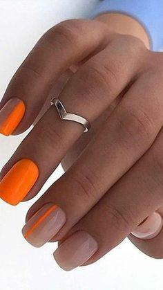 60 Elegant Matte Short Square Nails Design Ideas to Try Uñas Orange Nail Designs, Square Nail Designs, Short Nail Designs, Neon Nail Designs, French Nail Designs, Short Square Acrylic Nails, Short Square Nails, Best Acrylic Nails, Nails Short