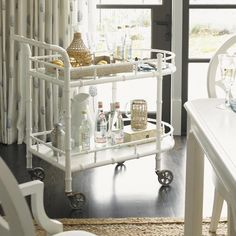 Make entertaining easy this holiday season with a bar cart. This is form and function at its best, and you can use it to serve food, create a bar, set presents on, or place party favors.  Get more ideas to make your home party ready http://www.baers.com/p/partyready