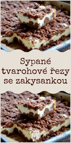 Sypané tvarohové řezy se zakysankou #Sypané #zakysankou Sweet Desserts, Easy Desserts, Sweet Recipes, Czech Recipes, Food Platters, Mini Cheesecakes, Desert Recipes, Cas, Baking Recipes