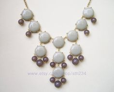 SALE  Light Gray   Smooth Bubble Statement Necklace  by STH234, $19.00