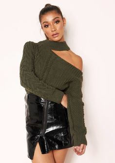 eaf865ffeff Missyempire - Sindy Khaki Cut Out Chunky Knit Jumper Chunky Knit Jumper