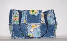 handmade rag quilt purse, rag quilt diaper bag, green tractor diaper bag,  #Handmade #ShoulderBag