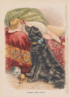 Black Newfoundland Dog NEWFIE with Victorian Girl Lithograph Antique Print | eBay