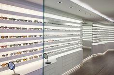 Bela Benedek - optical shop design design Shop Board Design, Store Design, Design Design, Optometry Office, Eyewear Shop, Optical Shop, Sunglasses Shop, Exhibition Space, New Shop
