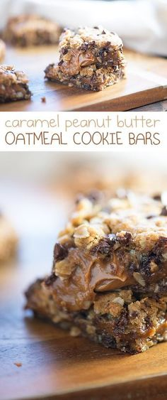 These easy oatmeal chocolate chip cookie bars are bursting with a thick and gooey caramel peanut butter sauce. Your kids are going to love this bar dessert! for chocolate chips for chocolate chips and peanut butter for chocolate chips cookies Oatmeal Cookie Bars, Oatmeal Chocolate Chip Cookies, Dessert Chocolate, Oatmeal Squares, Oat Bars, Chocolate Butter, Chocolate Bars, Chocolate Chips, Peanut Butter Sauce