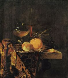Willem Kalf - Still life with Glass Goblet and Fruit, c. Oil on canvas, 65 x 56 cm, Staatliche Museen, Berlin Dutch Still Life, Still Life Art, Dark Art Photography, Still Life Photography, Academic Art, Still Life Photos, Dutch Painters, Dutch Golden Age, Caravaggio
