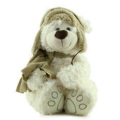 Urso Pelúcia Branco Chapéu Cachecol Marrom Chapéu Cachecol e878290450af3