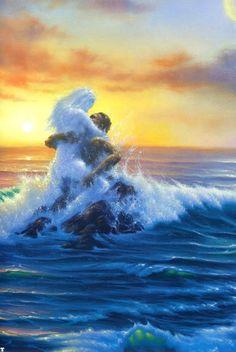 Non sono nata donna. Ero onda indomita, ruggito di mare. Mi sono fatta donna per risorgere fra gli scogli con l'ultima risacca e tornare, tempesta in mare.  Author: Francesca Sommantico. Dipinto di: Jim Warren