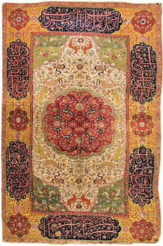 "Lobanov-Rostovsky 'Salting' rug, Central Persia, mid 16'th Century. Wool pile on Silk foundation. 5'7"" by 9'2"". State Hermitage Museum, St.Petersburg."