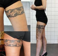 Smexy upper thigh garter lace tattoo. I wouldn't ever be able to pull this off, but I think it is gorgeous.