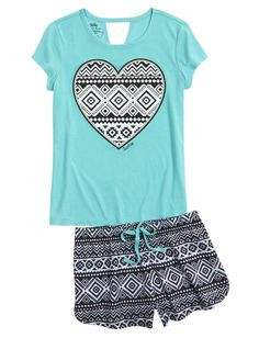 Initial Tribal Pajama Set | Girls Pajamas Sleepwear | Shop Justice