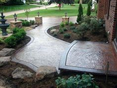 From stamped to stained, discover the top 60 best concrete walkway ideas. Explore front yard and backyard outdoor path designs for your home. Stamped Concrete Driveway, Concrete Driveways, Concrete Tools, Concrete Front Steps, Stain Concrete, Cement Patio, Concrete Texture, Walkways, Stained Concrete Porch